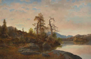 Forest Landscape with Lake | Hans Fredrik Gude | oil painting