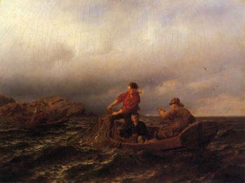 Hauling in the Nets | Hans Fredrik Gude | oil painting