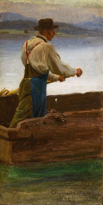 Man in a Rowboat | Hans Fredrik Gude | oil painting