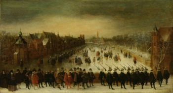 Winter View of the Vijverberg in The Hague in the foreground Prince Maurits and his entourage. 1618 | Adam van Breen | oil painting