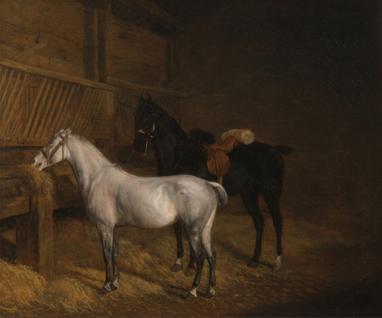 A Grey Pony and a Black Charger in a Stable | Jacques Laurent Agasse | oil painting