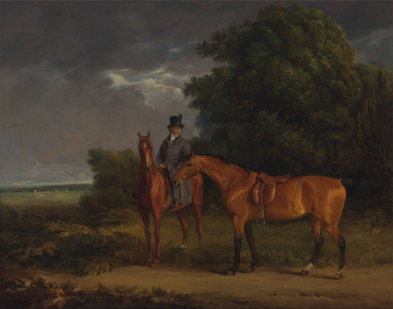 A Groom Mounted on a Chestnut Hunter He Holds a Bay Hunter by the Reins | Jacques Laurent Agasse | oil painting