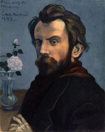 Self Portrait with a Vase of Flowers | Emile Bernard | oil painting