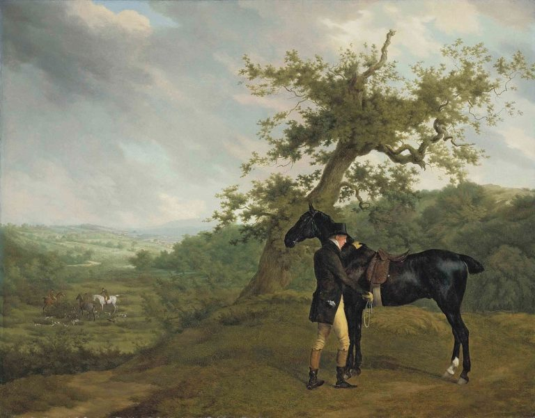 George Irving with his black hunter beneath a blasted oak | Jacques Laurent Agasse | oil painting