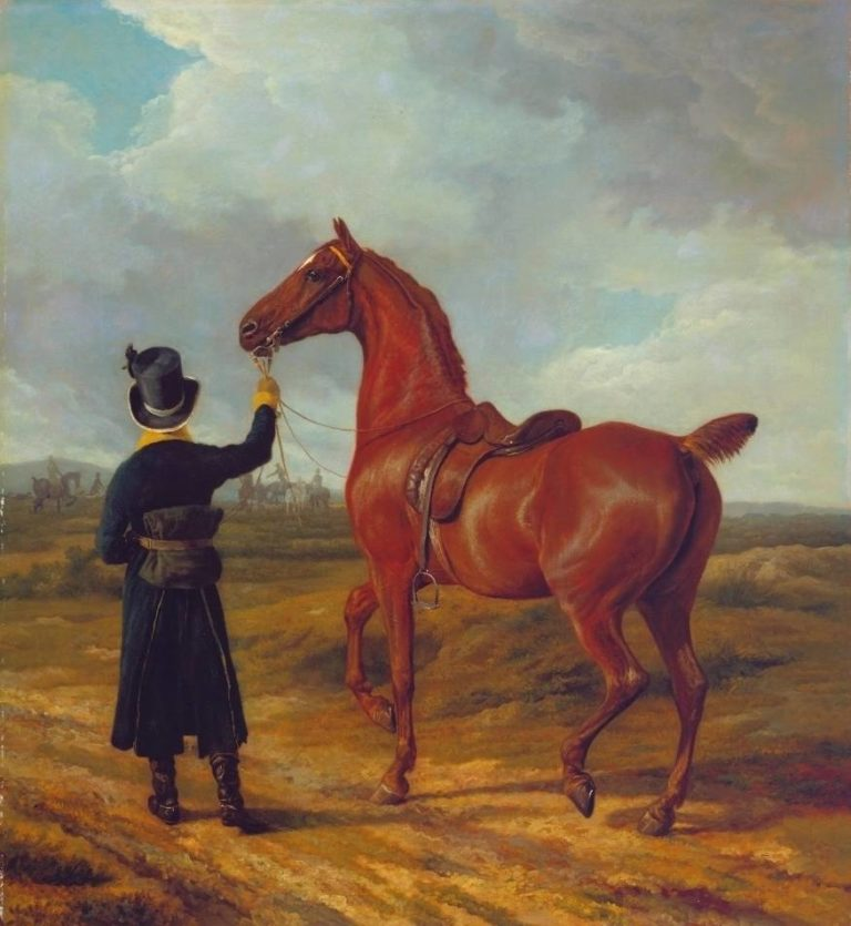 Lord Rivers Groom Leading a Chestnut Hunter towards a Coursing Party in Hampshire | Jacques Laurent Agasse | oil painting