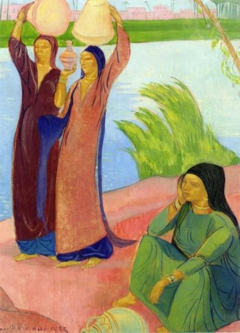 Three Women on the Banks of a River | Emile Bernard | oil painting