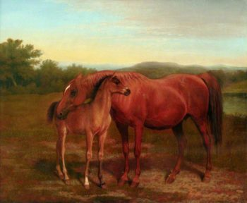 Mare Chestnut with Foal | Jacques Laurent Agasse | oil painting