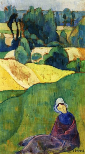 Woman Sitting in a Field Brittany | Emile Bernard | oil painting