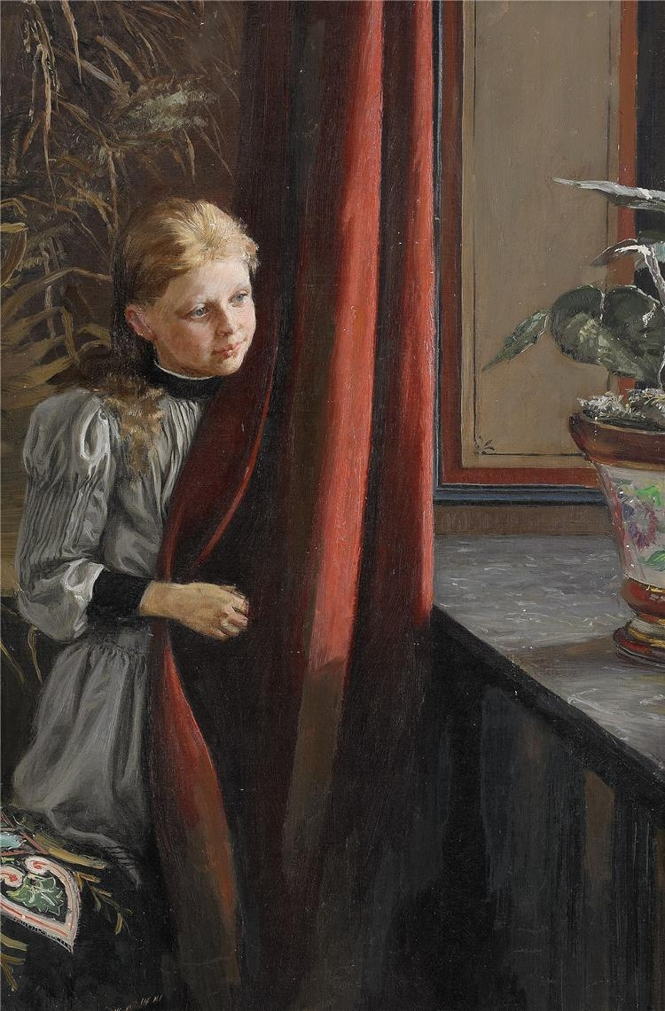 Girl At The Window | Fanny Brate | oil painting