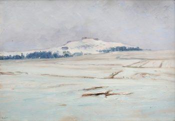 A Front Side of the Hill Hradiste in Winter   Frantisek Kavan   oil painting