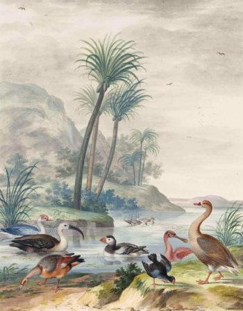 Exotic Waterbirds in a Landscape | Johannes van Bronckhorst | oil painting