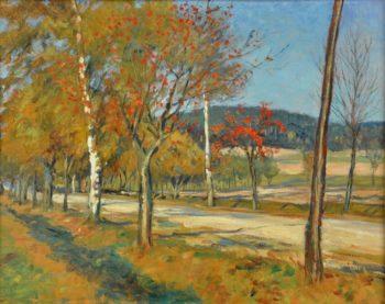 A Road with Rowan Tree near Village Chlum   Frantisek Kavan   oil painting