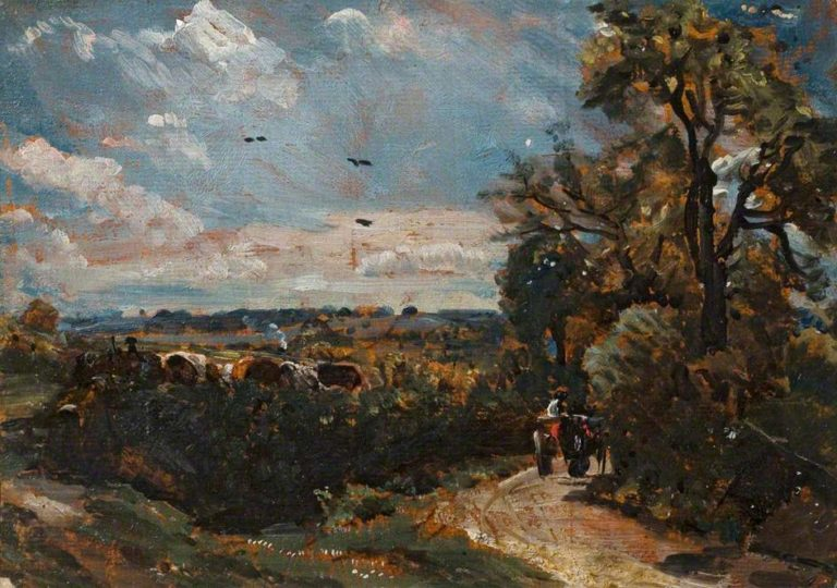 A cart on a Lane at Flatford | John Constable | oil painting