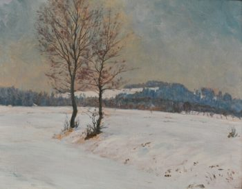 A Winter Landscape at Svobodne Hamry   Frantisek Kavan   oil painting