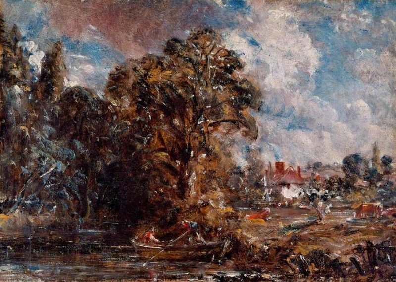 A River Scene with a Farmhouse near the Waters Edge | John Constable | oil painting
