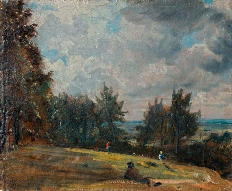 A View at Hampstead with Trees and Figures | John Constable | oil painting