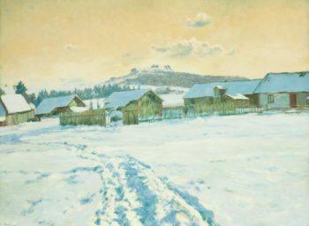 Night in the Village   Frantisek Kavan   oil painting