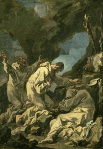 Three Camaldolesi monks in ecstatic prayer. 1710 - 1740 | Alessandro Magnasco | oil painting
