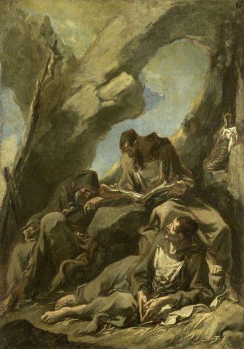 Three Capuchin monks meditating in prayer. 1710 - 1740 | Alessandro Magnasco | oil painting