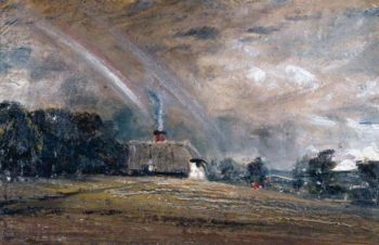 Landscape Study Cottage and Rainbow | John Constable | oil painting