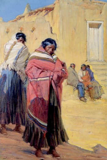 Indians outside Taos Pueblo | Ira Diamond Gerald Cassidy | oil painting