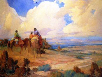 Navajos on the Way to Laguna Fiesta | Ira Diamond Gerald Cassidy | oil painting