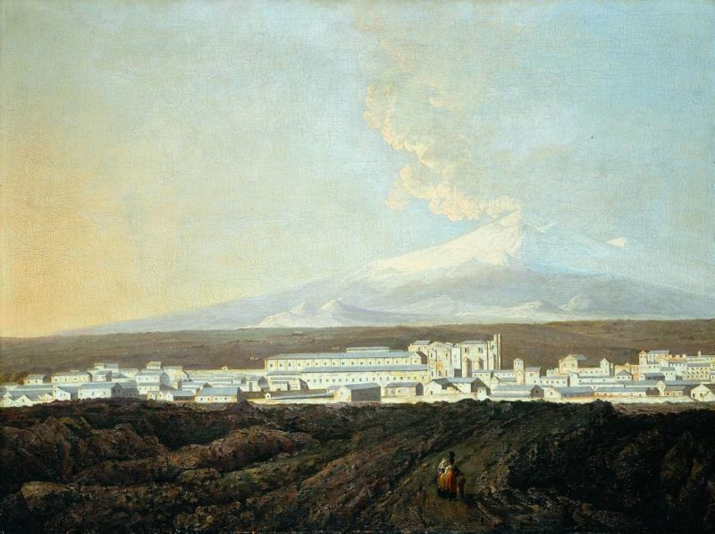 A View of Catania with Mount Etna in the Distance | Joseph Wright of Derby | oil painting