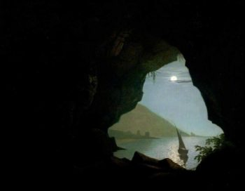 Grotto in the Gulf of Salerno Italy Moonlight | Joseph Wright of Derby | oil painting