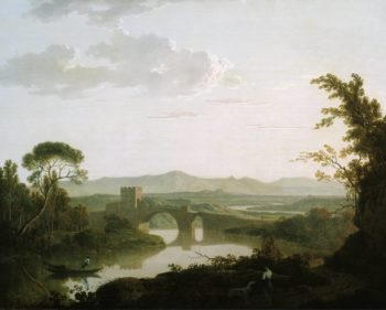 Imaginary Landscape with a Bridge in the Roman Campagna | Joseph Wright of Derby | oil painting