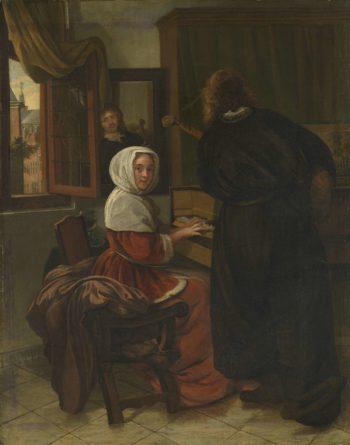 The music-making couple. 1650 - 1710   Cornelis de Man   oil painting