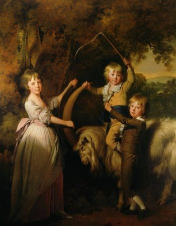 Three Children of Richard Arkwright with a Goat | Joseph Wright of Derby | oil painting