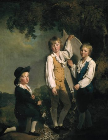 Three Children of Richard Arkwright with a Kite | Joseph Wright of Derby | oil painting