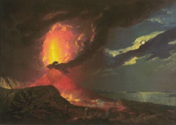 Vesuvius in Eruption with a View over the Islands in the Bay of Naples | Joseph Wright of Derby | oil painting