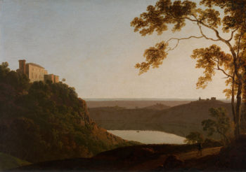 View of the Lake of Nemi at Sunset | Joseph Wright of Derby | oil painting