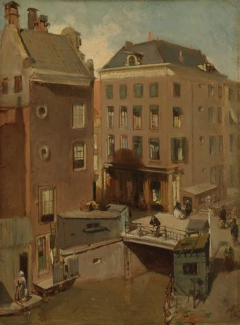 The Osjessluis the Kalverstraat in Amsterdam. 1855 | Charles Rochussen | oil painting