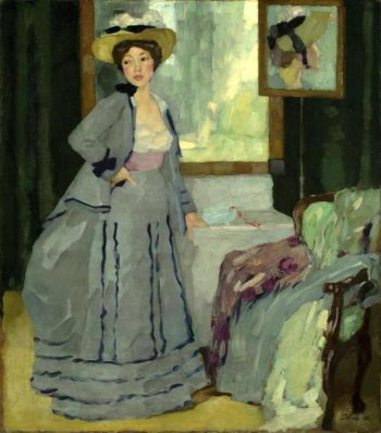 Before Going Out | Leo Putz | oil painting