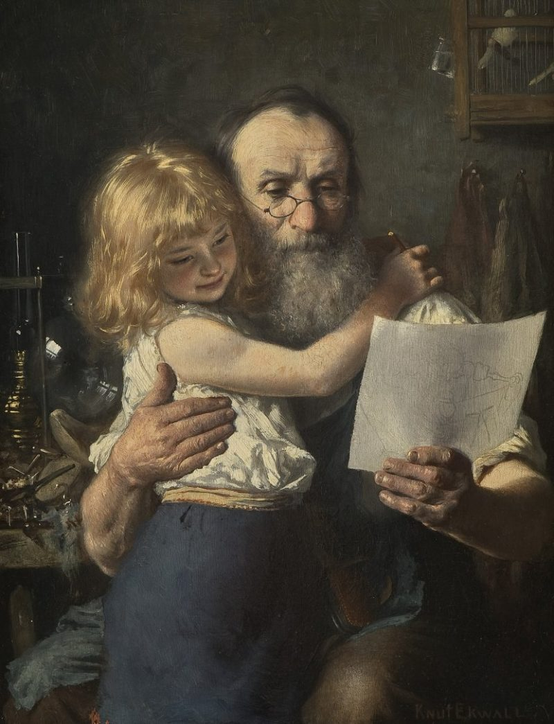 Shoemaker with his grandchild | Knut Ekwall | oil painting