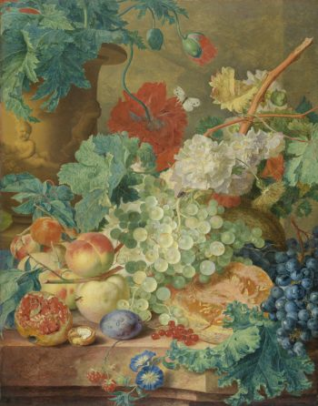 Still Life with Flowers and Fruit. ca. 1728 | Jan van Huysum | oil painting