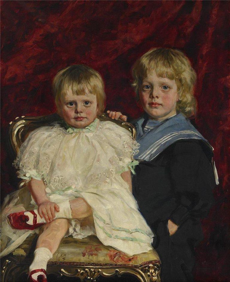 The siblings Anders and Margaret Eek   Knut Ekwall   oil painting