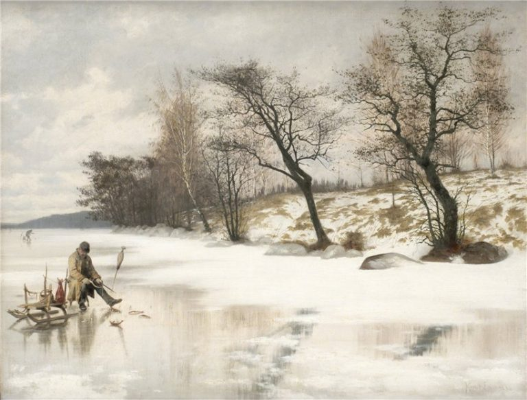 Winter fishing | Knut Ekwall | oil painting