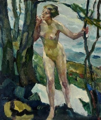 Female nude at the tree | Leo Putz | oil painting
