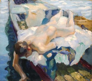 Female Nude on a Boat | Leo Putz | oil painting