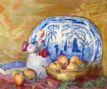 Fruit and Feather Flowers | Lucien Abrams | oil painting
