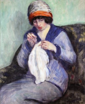 Girl Sewing | Lucien Abrams | oil painting
