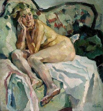 Lisl on a Sofa | Leo Putz | oil painting
