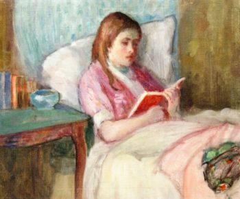 Young Woman Reading in Bed | Lucien Abrams | oil painting