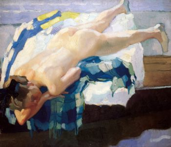 Nude Woman on a Boat | Leo Putz | oil painting