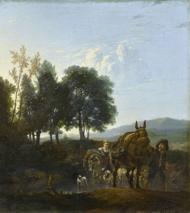 Landscape with muleteer. 1650 - 1655 | Karel Dujardin | oil painting