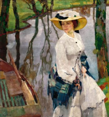 On the River Bank | Leo Putz | oil painting