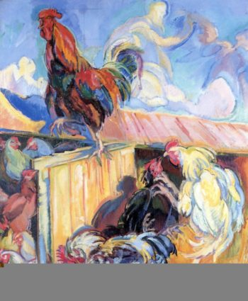 Rooster in Chicken Coop | Nicolas Tarkhoff | oil painting